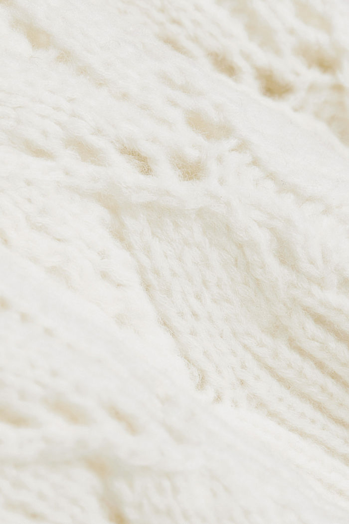 Pointelle jumper with wool, OFF WHITE, detail image number 4