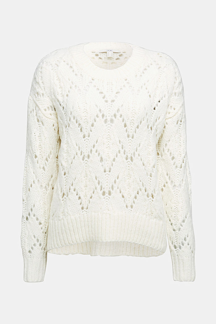 Pointelle jumper with wool, OFF WHITE, detail image number 5
