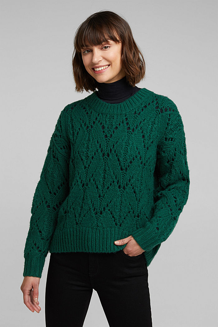 Pointelle jumper with wool, DARK TEAL GREEN, detail image number 0