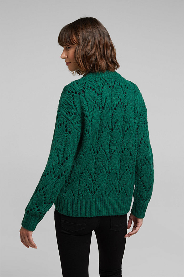 Pointelle jumper with wool, DARK TEAL GREEN, detail image number 3