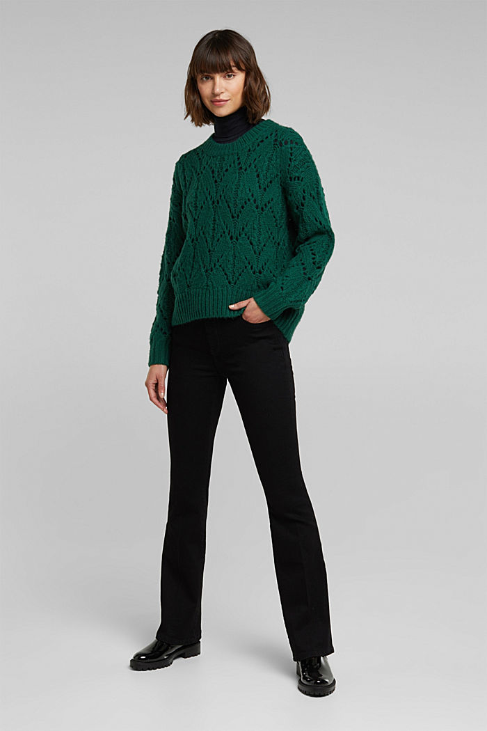 Pointelle jumper with wool, DARK TEAL GREEN, detail image number 1