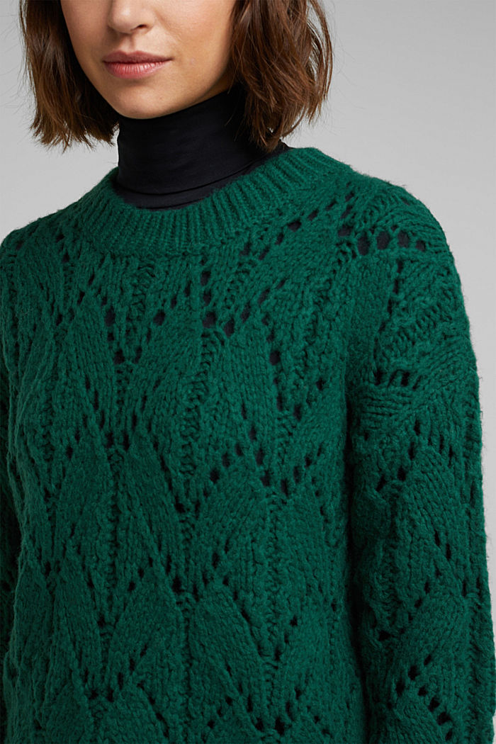 Pointelle jumper with wool, DARK TEAL GREEN, detail image number 2