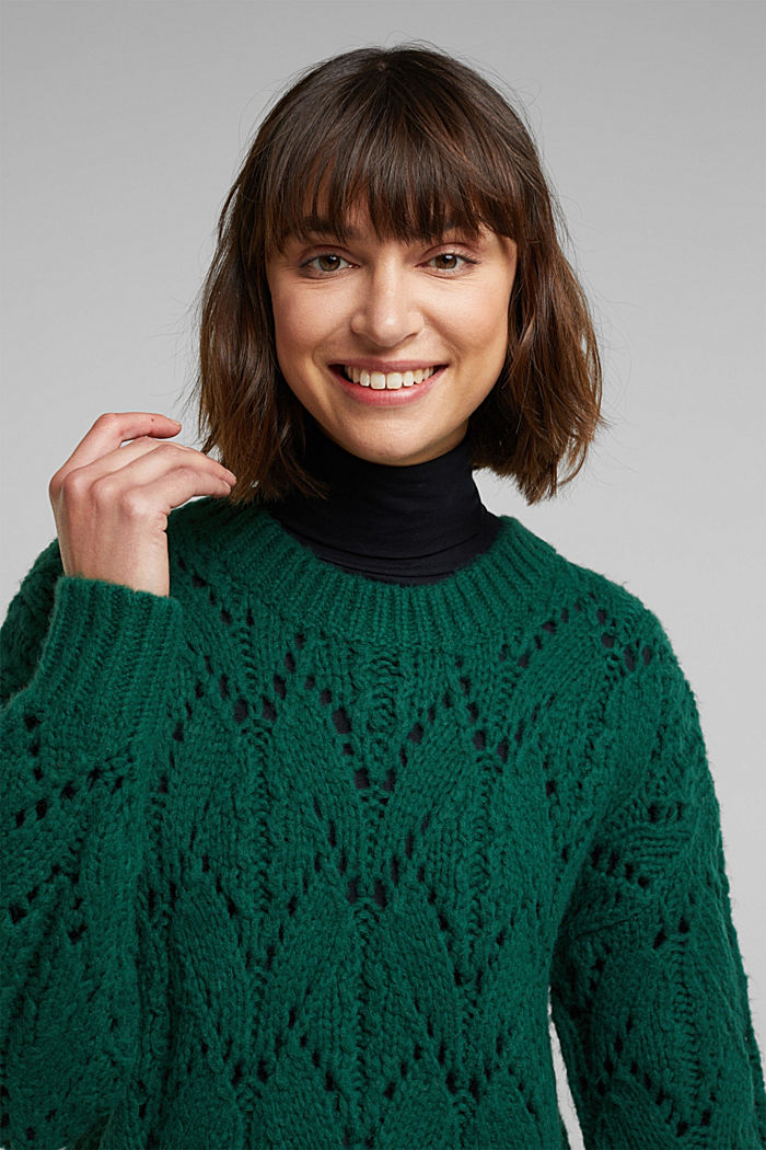 Pointelle jumper with wool, DARK TEAL GREEN, detail image number 5