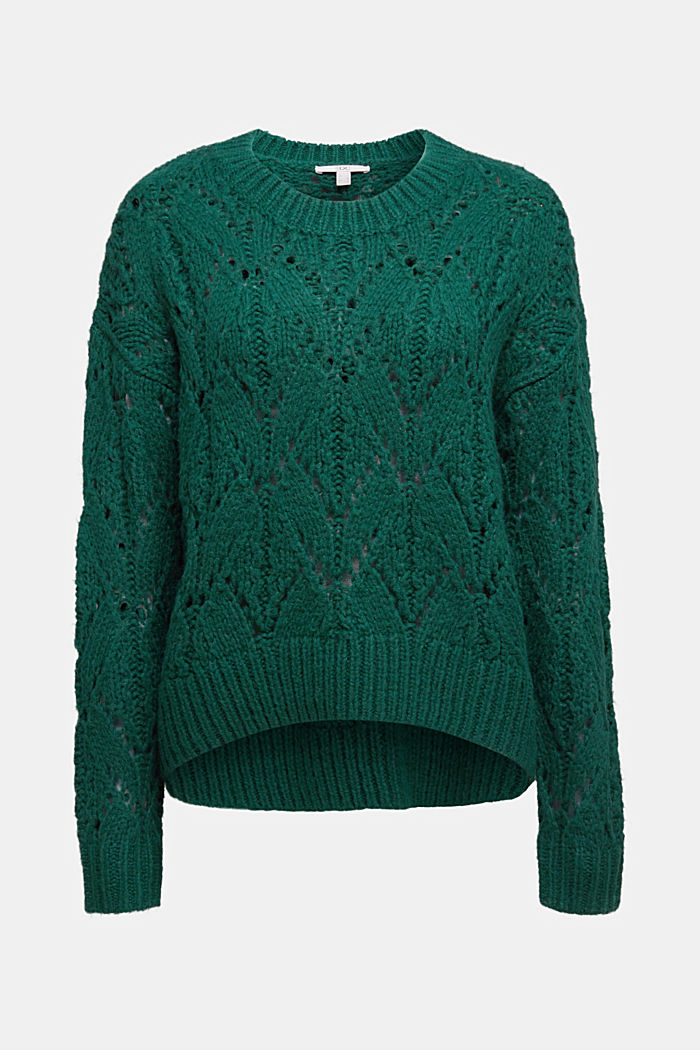 Pointelle jumper with wool, DARK TEAL GREEN, detail image number 6