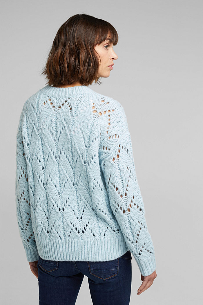 Pointelle jumper with wool, PASTEL BLUE, detail image number 3