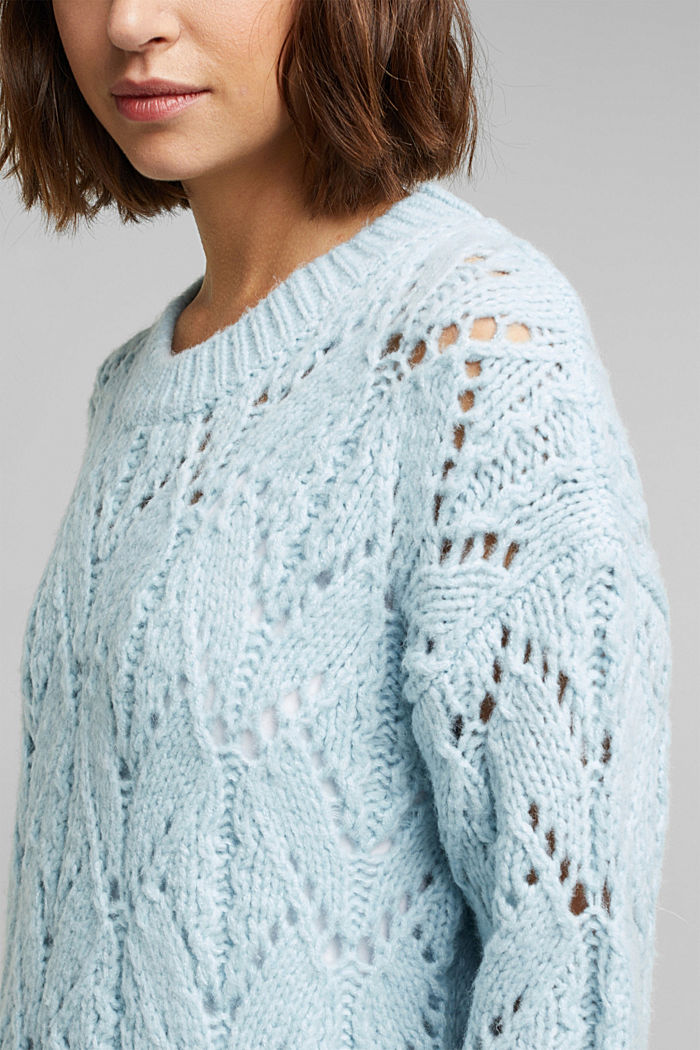 Pointelle jumper with wool, PASTEL BLUE, detail image number 2