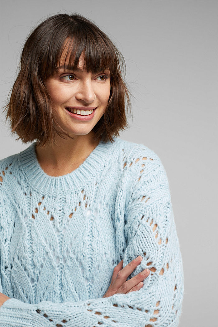 Pointelle jumper with wool, PASTEL BLUE, detail image number 6