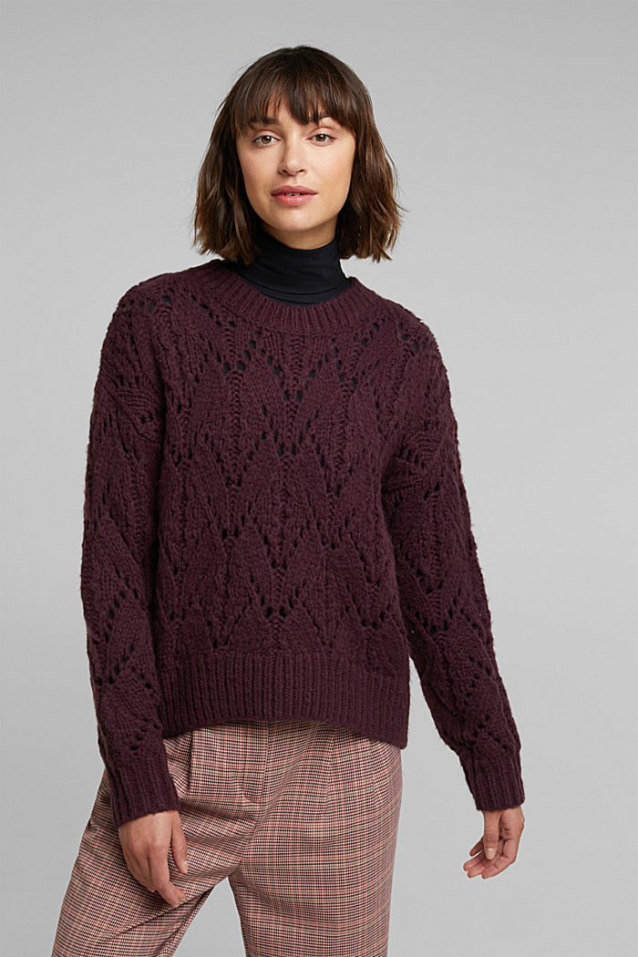 Pointelle jumper with wool, AUBERGINE, detail image number 0