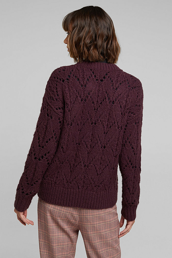 Pointelle jumper with wool, AUBERGINE, detail image number 3