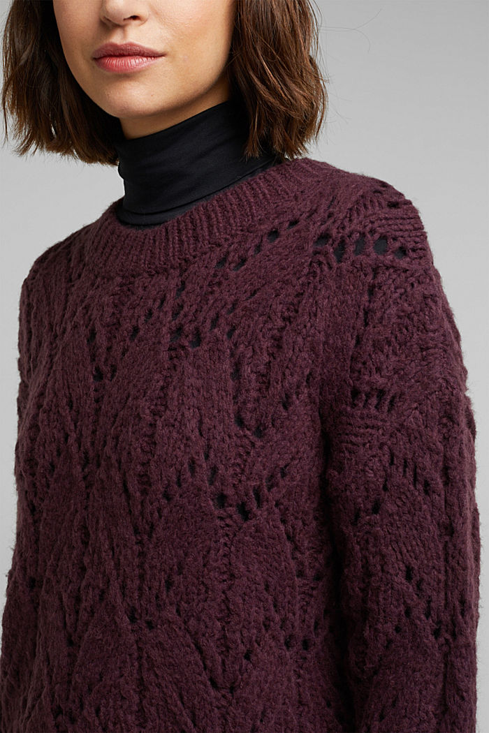 Pointelle jumper with wool, AUBERGINE, detail image number 2