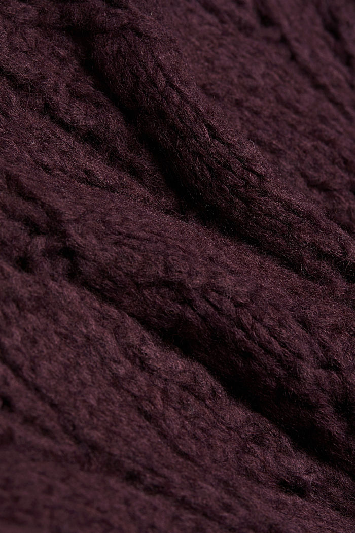 Pointelle jumper with wool, AUBERGINE, detail image number 4