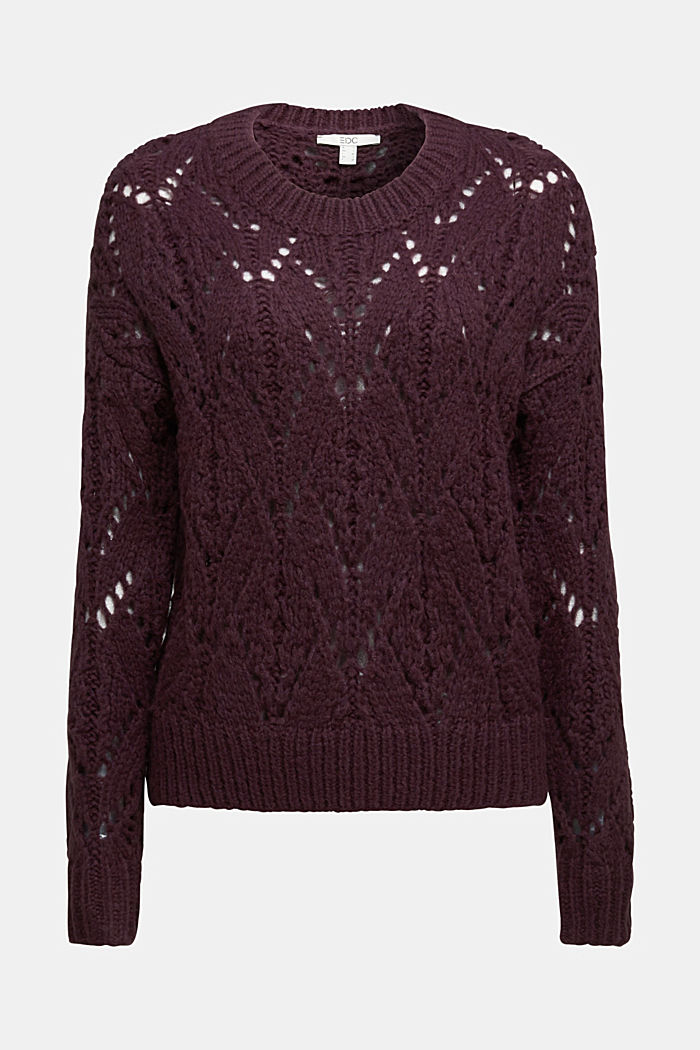 Pointelle jumper with wool, AUBERGINE, detail image number 5