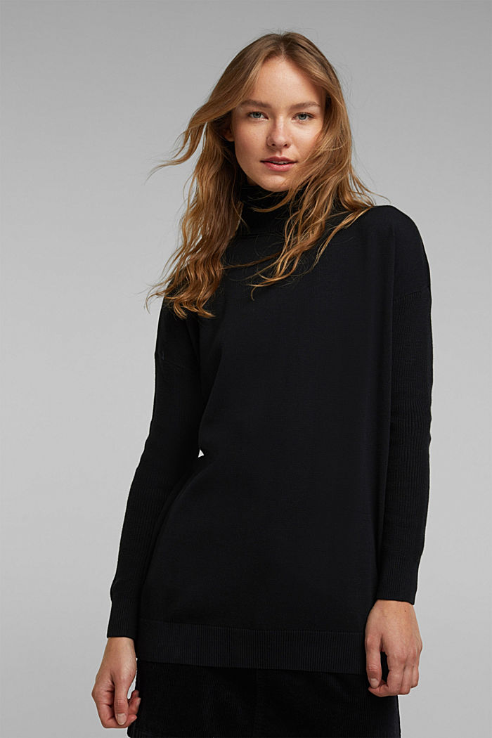 Long polo neck jumper with organic cotton
