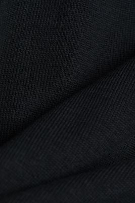 Long polo neck jumper with organic cotton, BLACK, detail