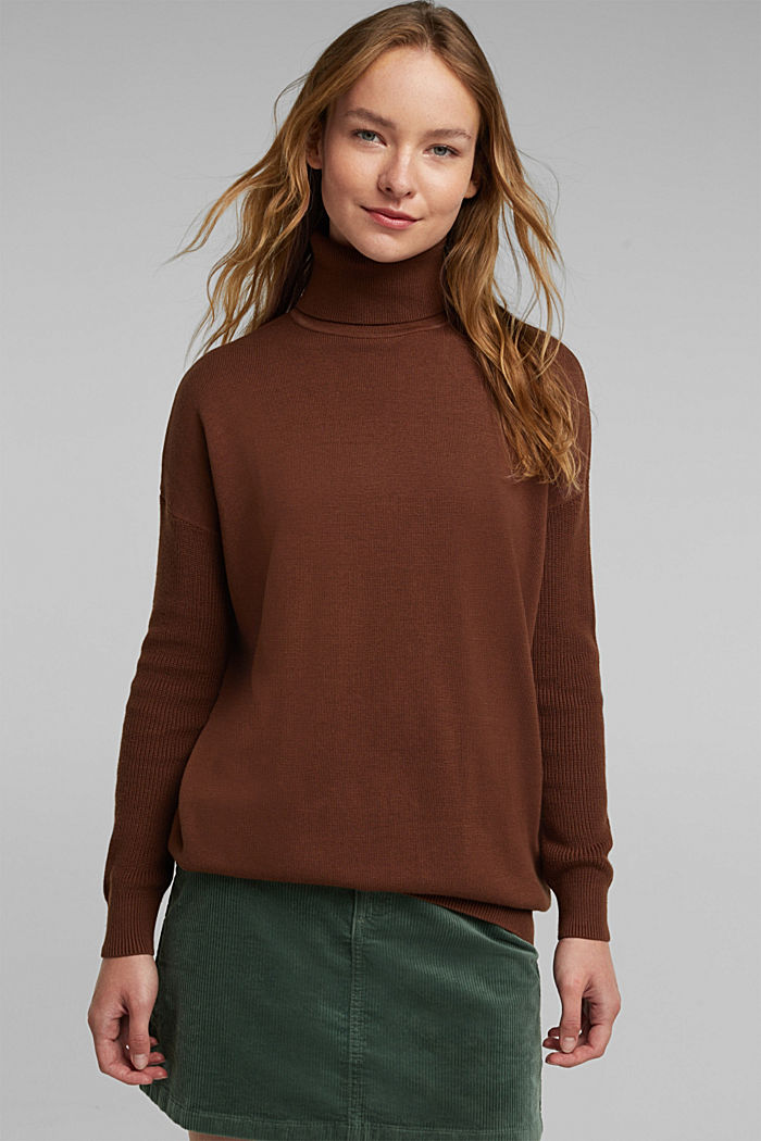Long polo neck jumper with organic cotton, BROWN, detail image number 0