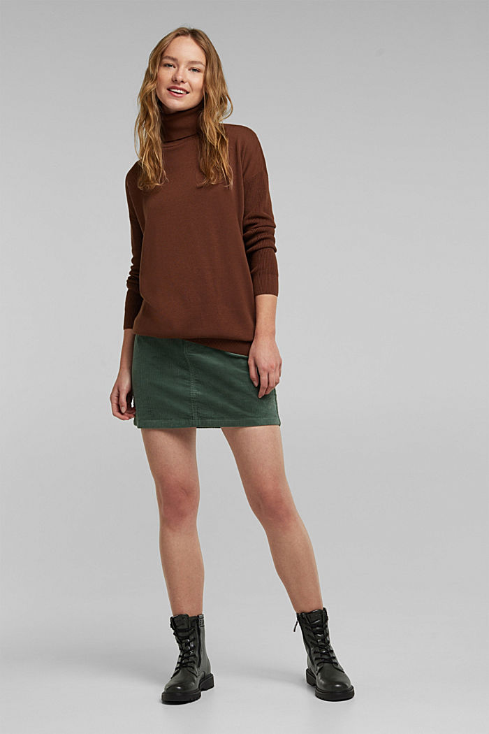 Long polo neck jumper with organic cotton, BROWN, detail image number 1