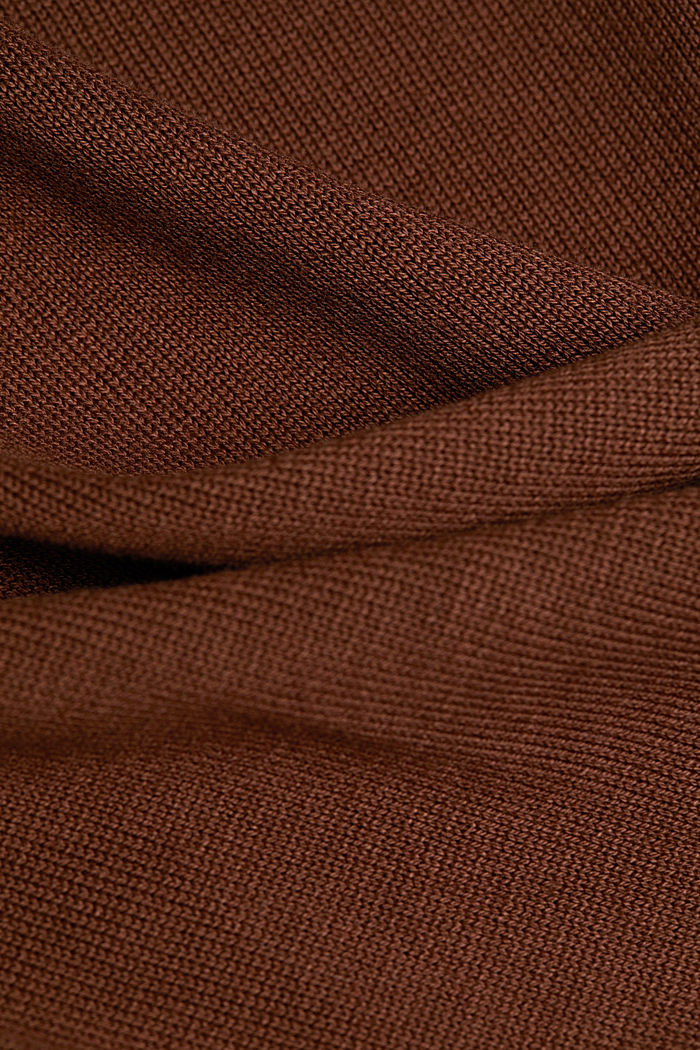 Long polo neck jumper with organic cotton, BROWN, detail image number 4