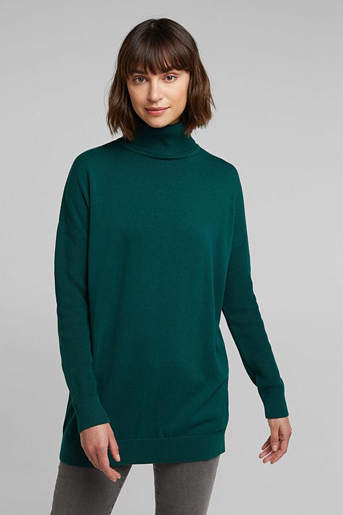 Langer Rollkragen-Pullover mit Bio-Baumwolle, DARK TEAL GREEN, detail image number 0