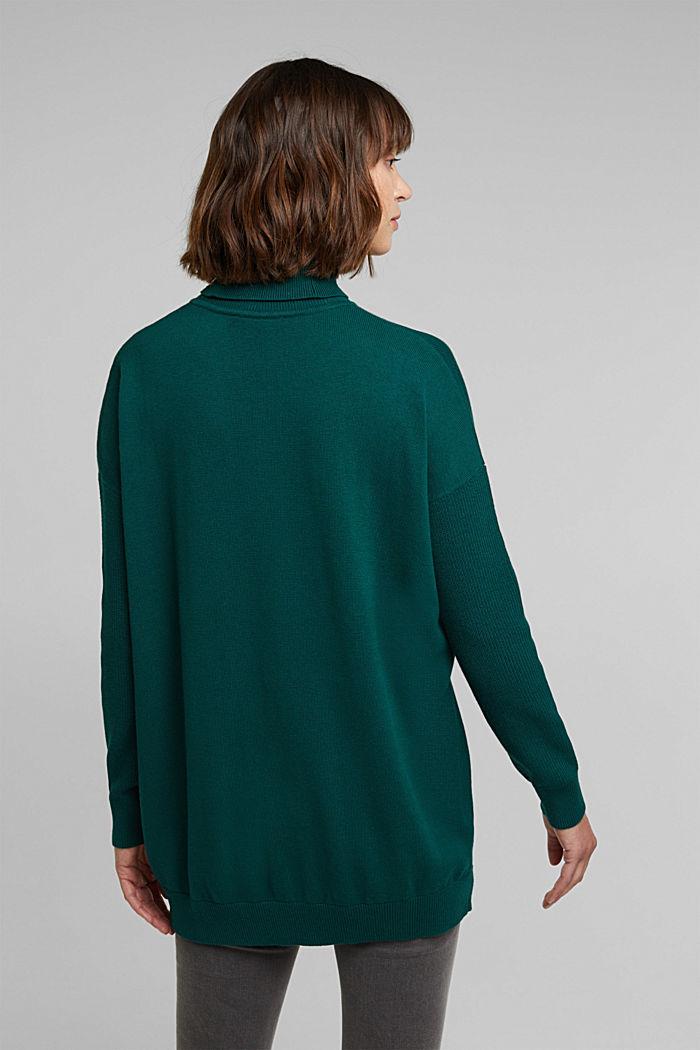 Langer Rollkragen-Pullover mit Bio-Baumwolle, DARK TEAL GREEN, detail image number 3