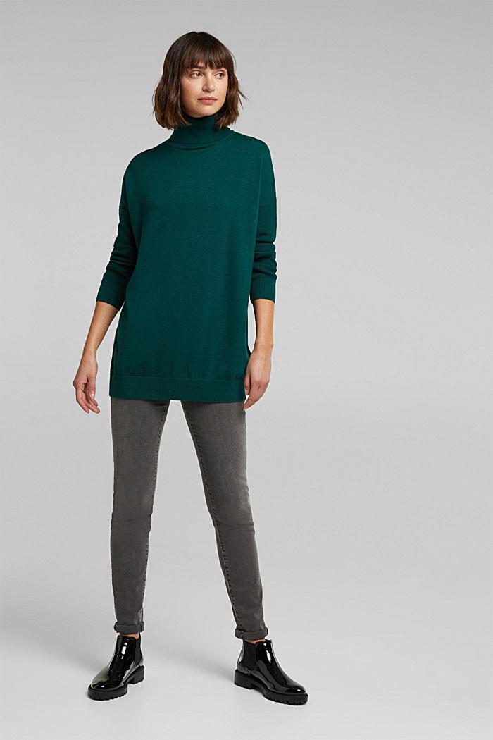Langer Rollkragen-Pullover mit Bio-Baumwolle, DARK TEAL GREEN, detail image number 1