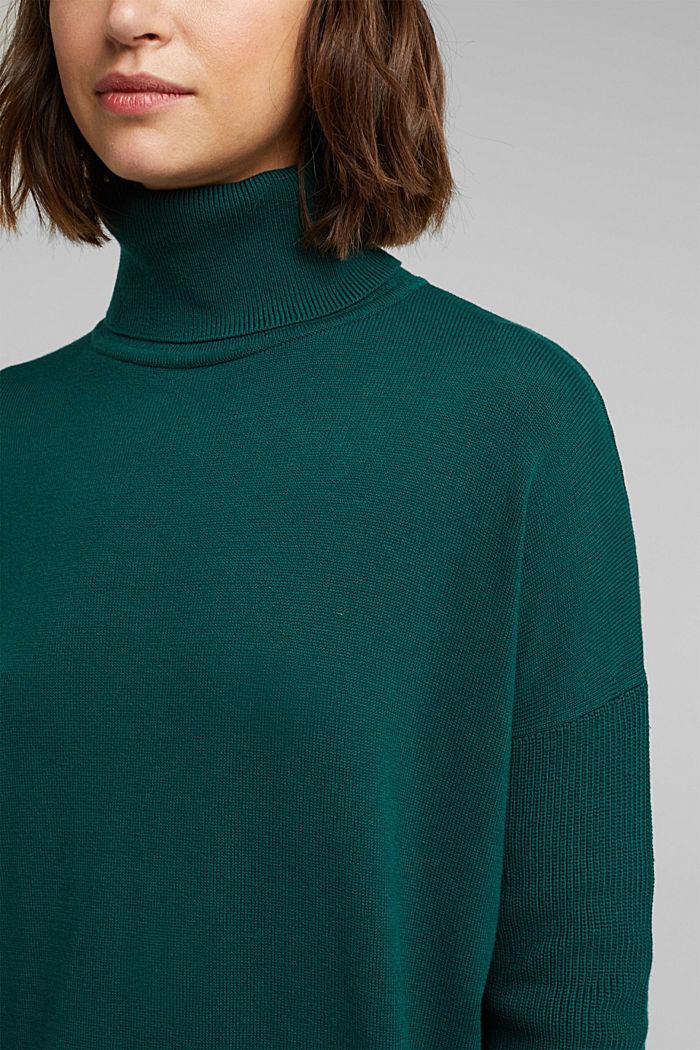 Langer Rollkragen-Pullover mit Bio-Baumwolle, DARK TEAL GREEN, detail image number 2