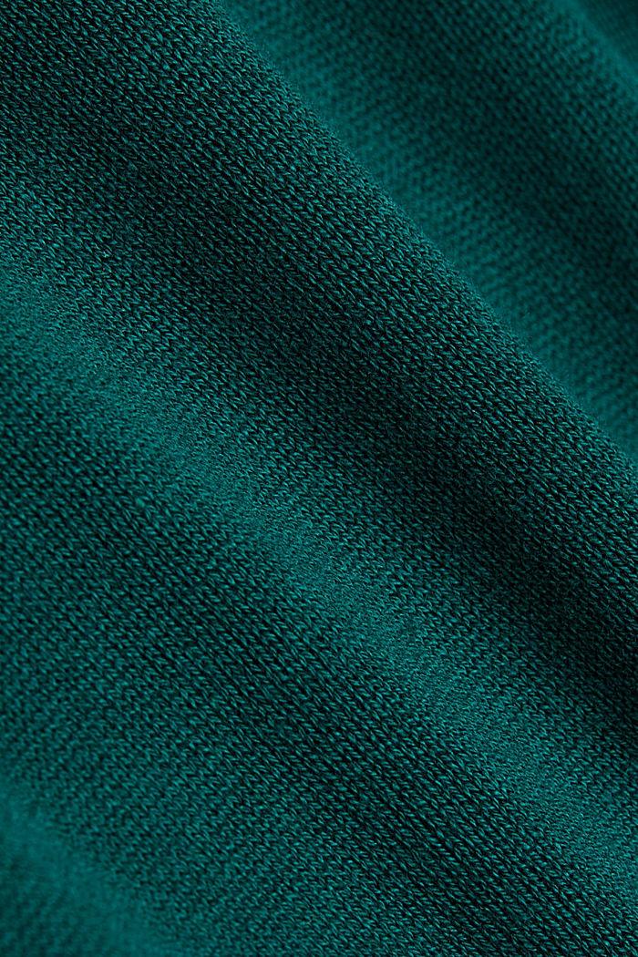 Langer Rollkragen-Pullover mit Bio-Baumwolle, DARK TEAL GREEN, detail image number 4