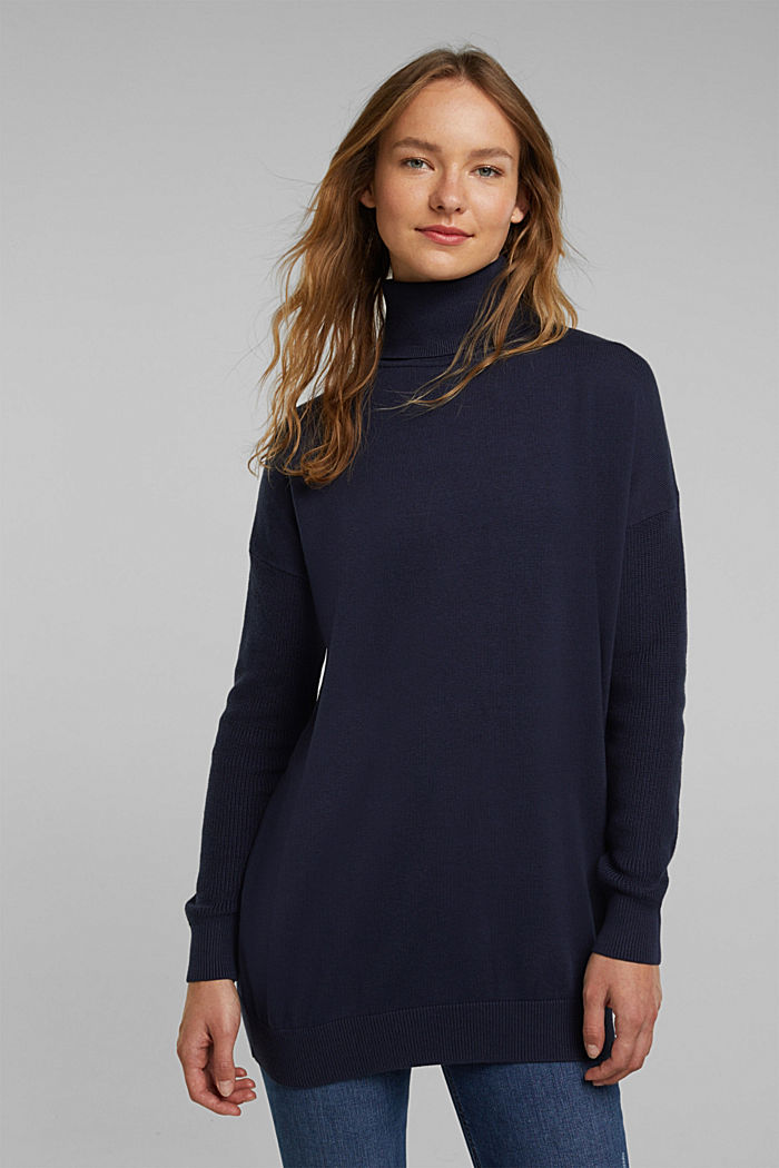 Long polo neck jumper with organic cotton, NAVY, detail image number 0