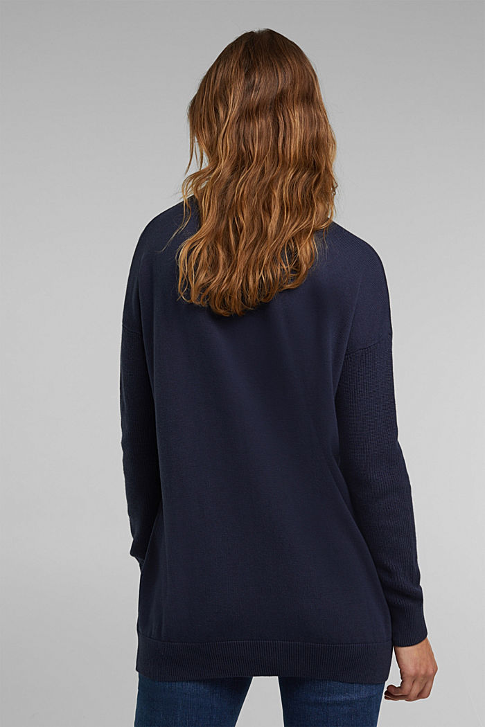 Long polo neck jumper with organic cotton, NAVY, detail image number 3