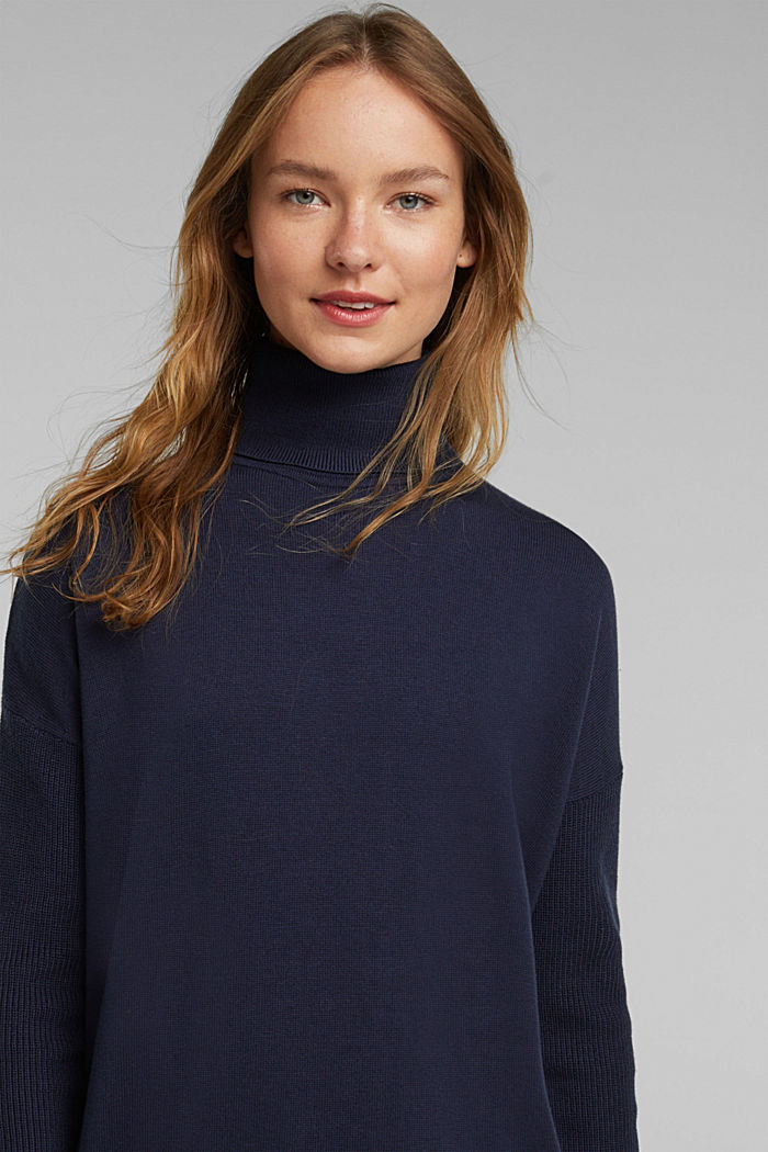 Long polo neck jumper with organic cotton, NAVY, detail image number 5
