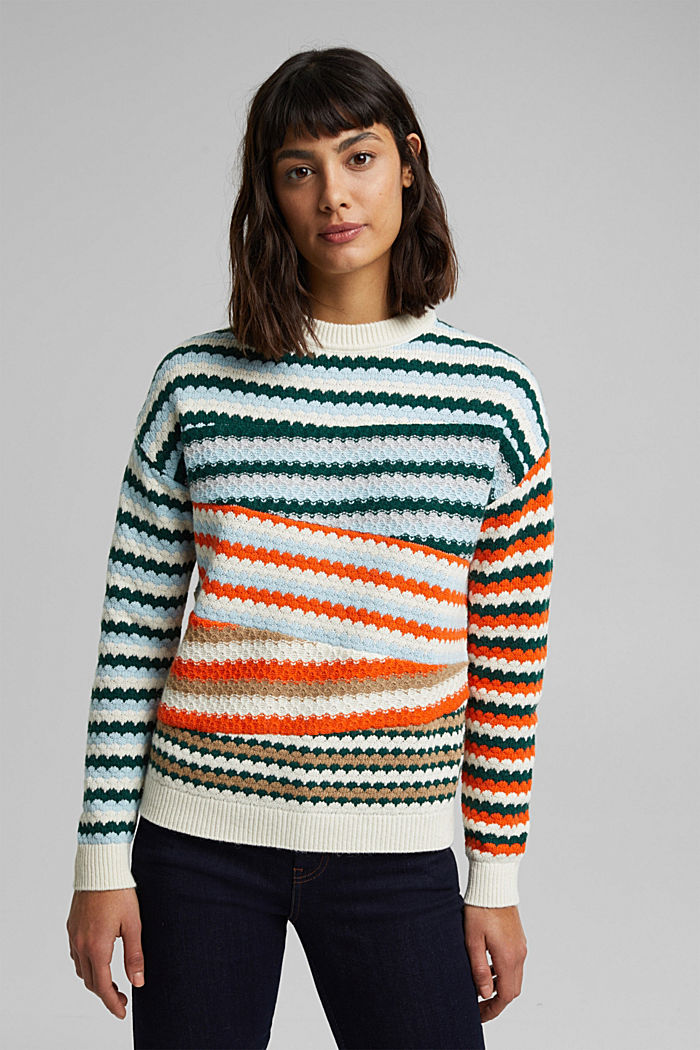 Textured jumper containing organic cotton, DARK TEAL GREEN, detail image number 0