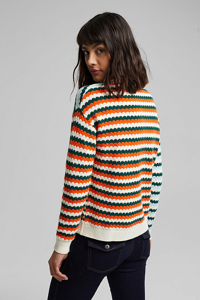 Textured jumper containing organic cotton, DARK TEAL GREEN, detail image number 3