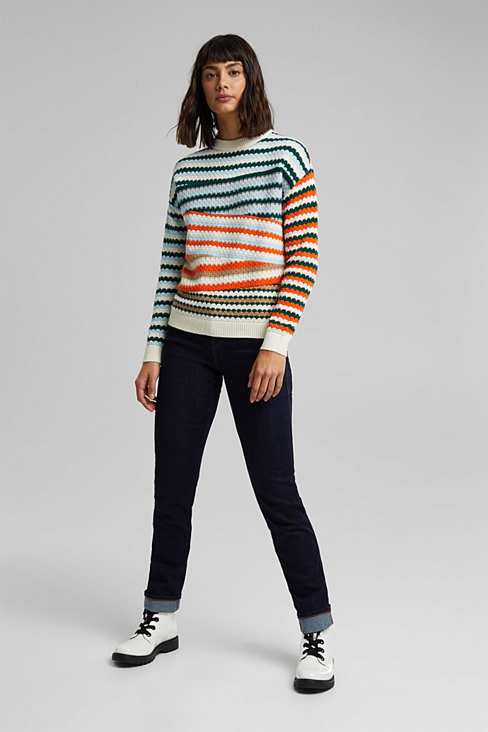 Textured jumper containing organic cotton, DARK TEAL GREEN, detail image number 1