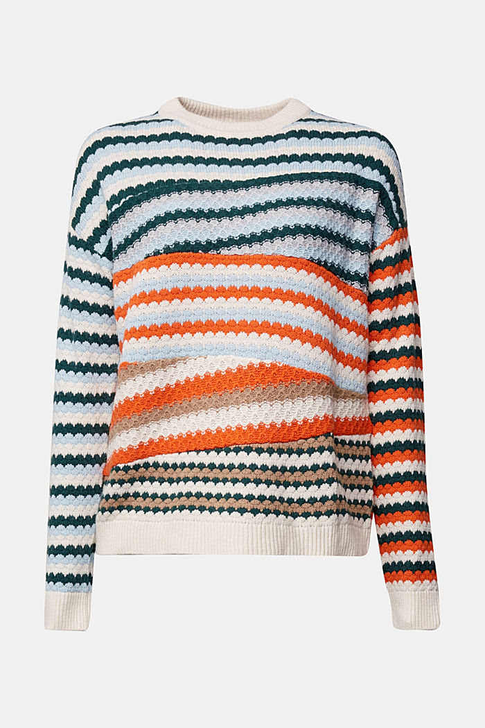 Textured jumper containing organic cotton, DARK TEAL GREEN, detail image number 6