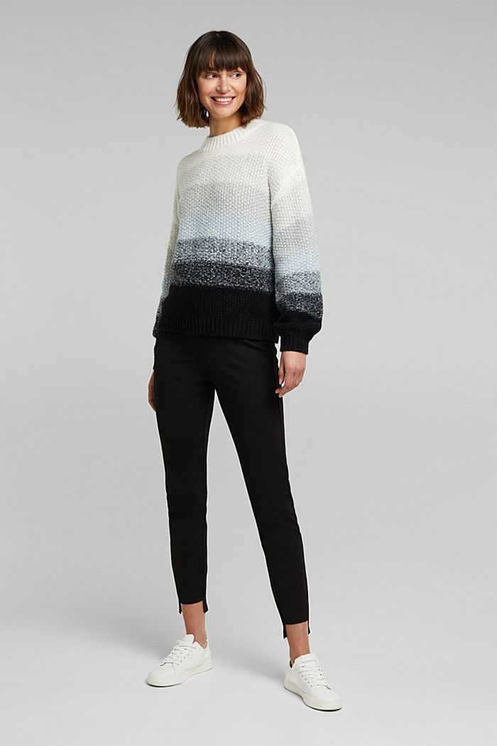 With wool: striped chunky knit jumper, PASTEL BLUE, detail image number 1
