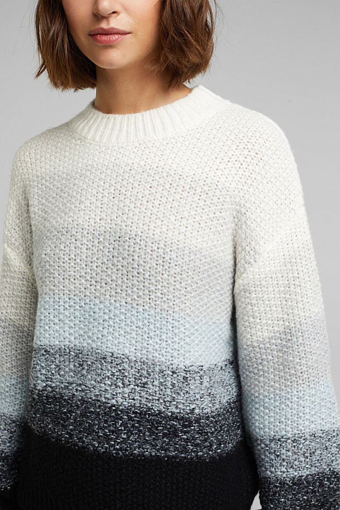 With wool: striped chunky knit jumper, PASTEL BLUE, detail image number 2