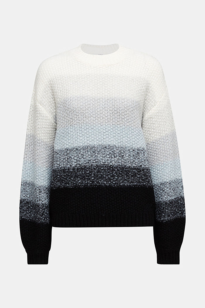 With wool: striped chunky knit jumper