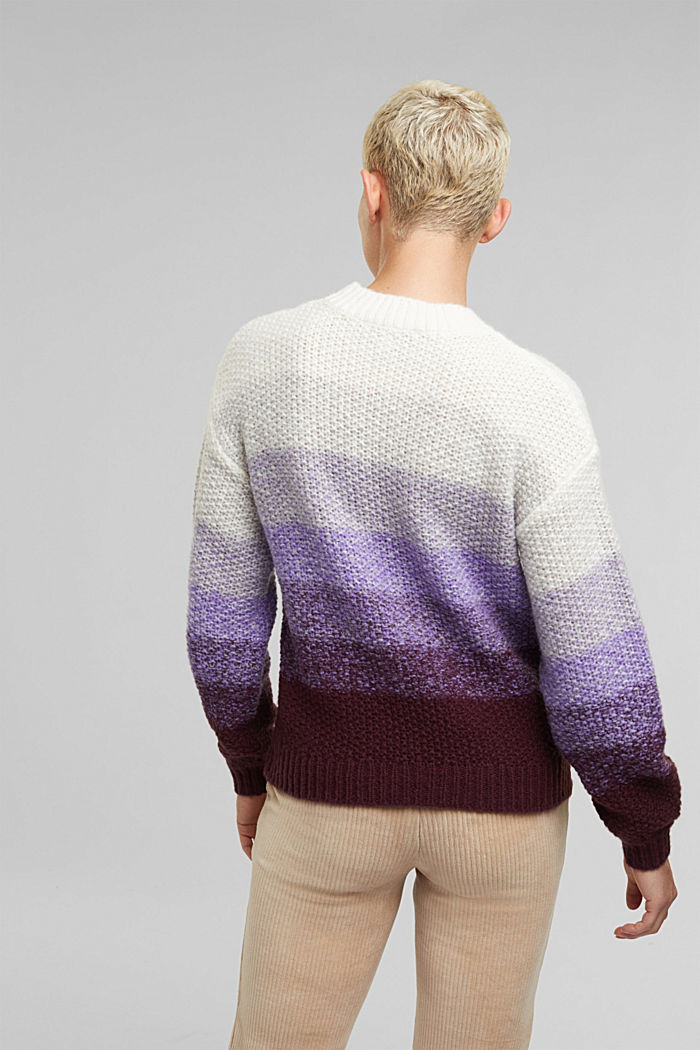 With wool: striped chunky knit jumper, LILAC, detail image number 3