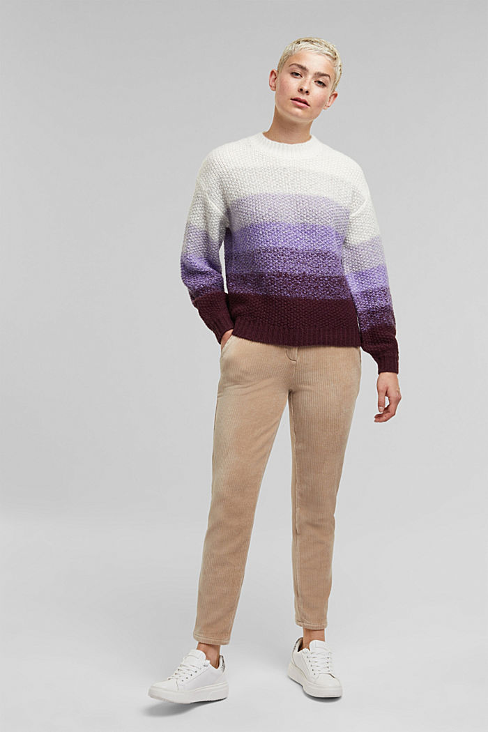 With wool: striped chunky knit jumper, LILAC, detail image number 1