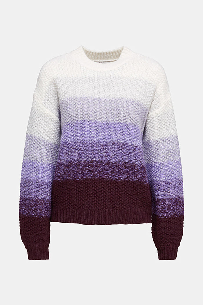 With wool: striped chunky knit jumper, LILAC, detail image number 5
