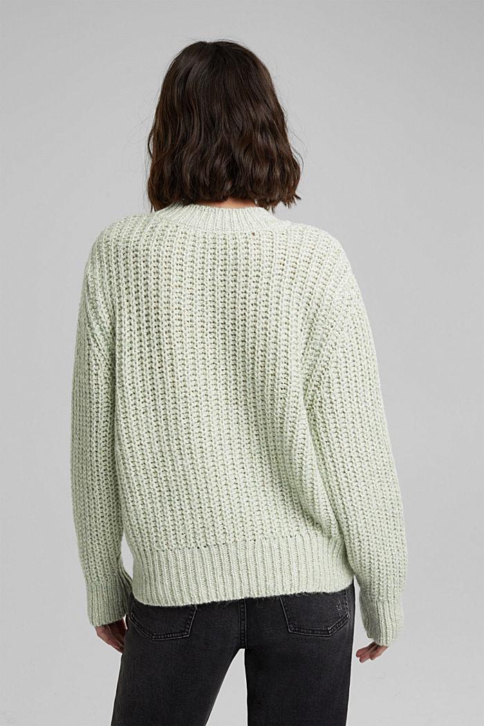 Mouliné jumper made of blended cotton, LIGHT GREEN, detail image number 3