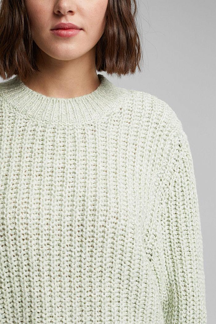 Mouliné jumper made of blended cotton, LIGHT GREEN, detail image number 2
