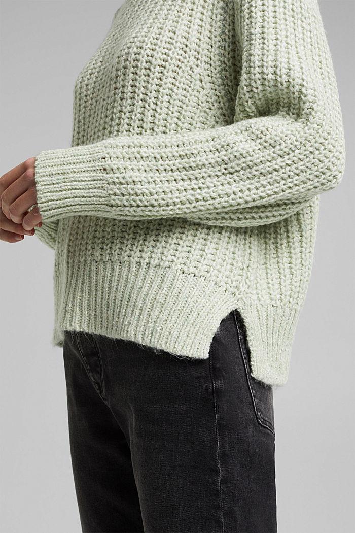 Mouliné jumper made of blended cotton, LIGHT GREEN, detail image number 5