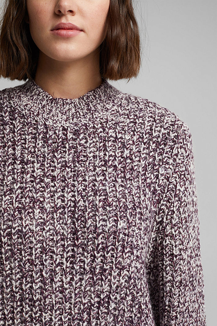 Mouliné jumper made of blended cotton, AUBERGINE, detail image number 2