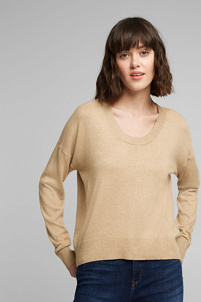 Jumper with organic cotton, BEIGE, overview