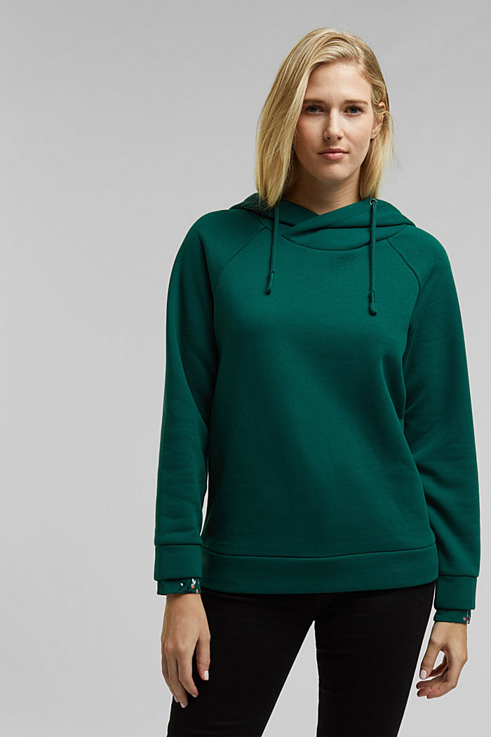 Recycled: hoodie containing organic cotton, DARK TEAL GREEN, detail image number 0