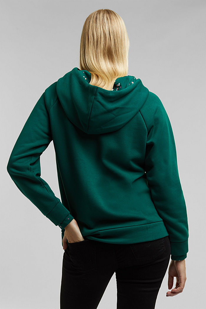 Recycled: hoodie containing organic cotton, DARK TEAL GREEN, detail image number 3