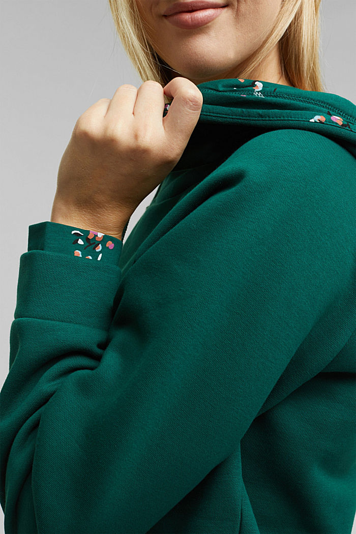 Recycled: hoodie containing organic cotton, DARK TEAL GREEN, detail image number 2