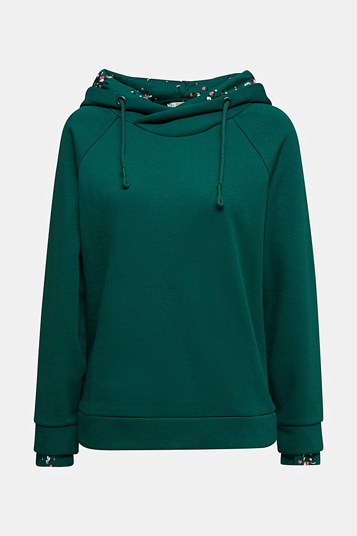 Recycled: hoodie containing organic cotton, DARK TEAL GREEN, detail image number 5