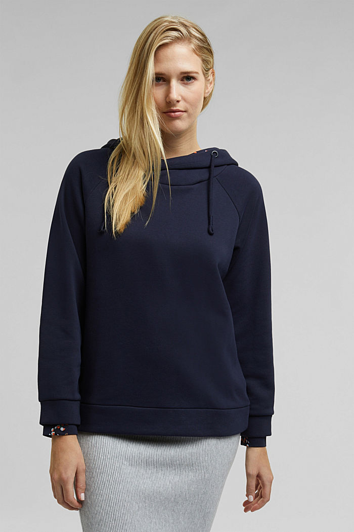 Recycled: hoodie containing organic cotton, NAVY, detail image number 0