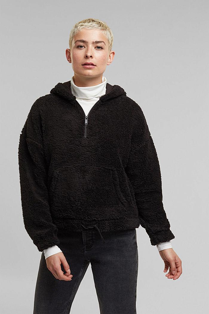Recycled: hoodie made of teddy fur, BLACK, detail image number 0